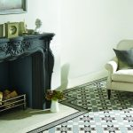 Victorian tiles. Blenheim pattern in Black Grey and Dover White with Telford Black border
