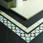 Victorian tiles. Browning border in Black Dover White and Pugin Blue with Black