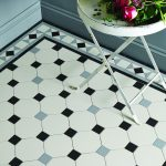 Victorian tiles. Conrad border with Nottingham pattern in Black, Grey and Dover White
