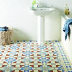 Victorian bathroom floor tiles. Eltham pattern with modified Kingsley border in Grey, Red, Dover White, Pugin Blue and Blue
