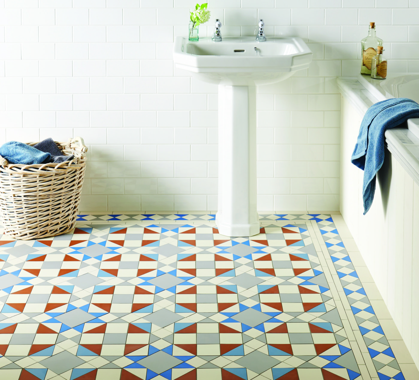 Victorian Bathroom Floor Tiles. Eltham Pattern With Modified Kingsley  Border In Grey, Red,