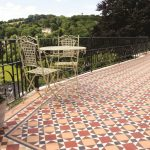 Victorian Tiles. Lambeth pattern with Wordsworth border modified in Red, Buff, Black, Brown and White