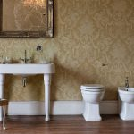White toilet, bidet and hand basin