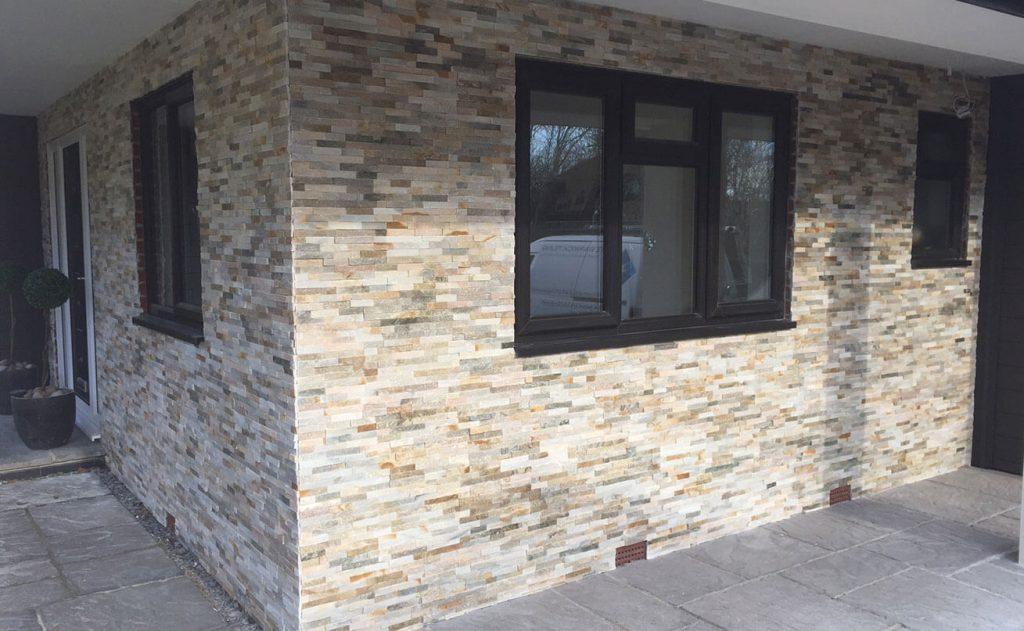 Splitface tiles on a building exterior.