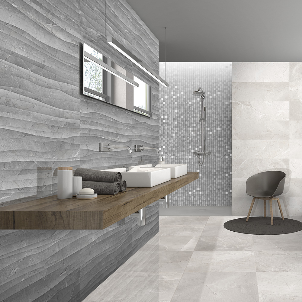 Grey Bathroom Tiles | Athens Grey Decor Marble Effect 295mm X 893mm