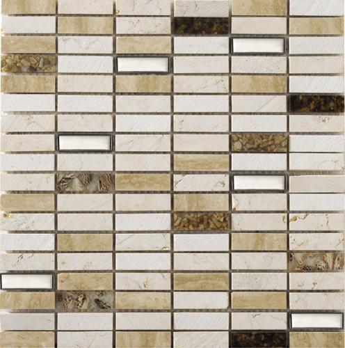 Natural Travertine Mosaic Tile L 300mm W 300mm: Kubica Beige Mosaic 300mm X 300mm Sheet