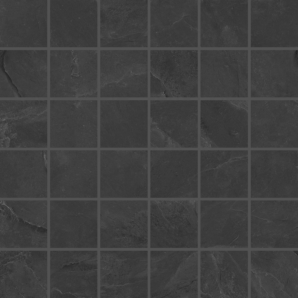 Natural Travertine Mosaic Tile L 300mm W 300mm: Stonelife Black Slate Effect Mosaic 300mm X 300mm Sheet