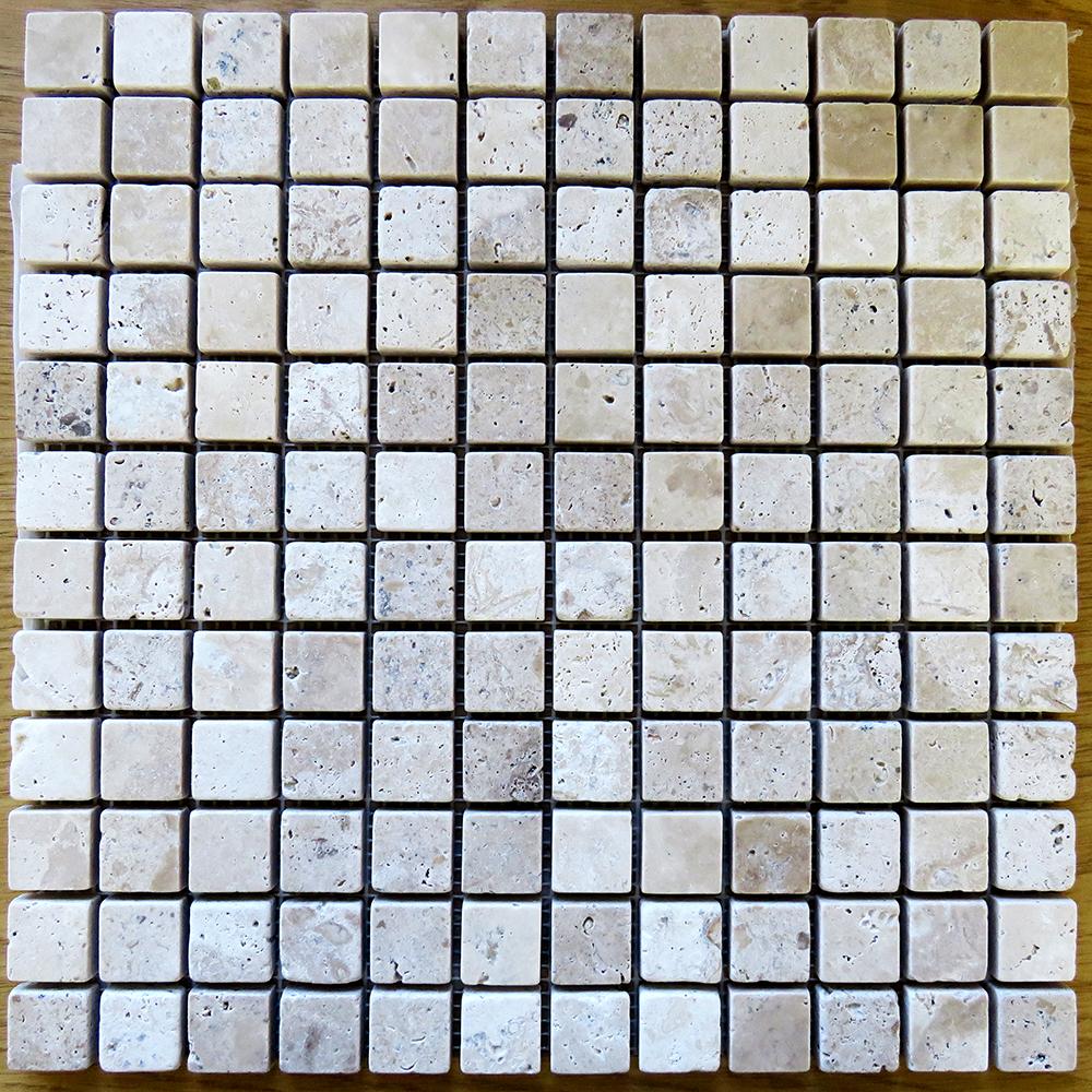 Natural Travertine Mosaic Tile L 300mm W 300mm: Phoenician Stone 23mm Tumbled Travertine Mosaic 300mm X
