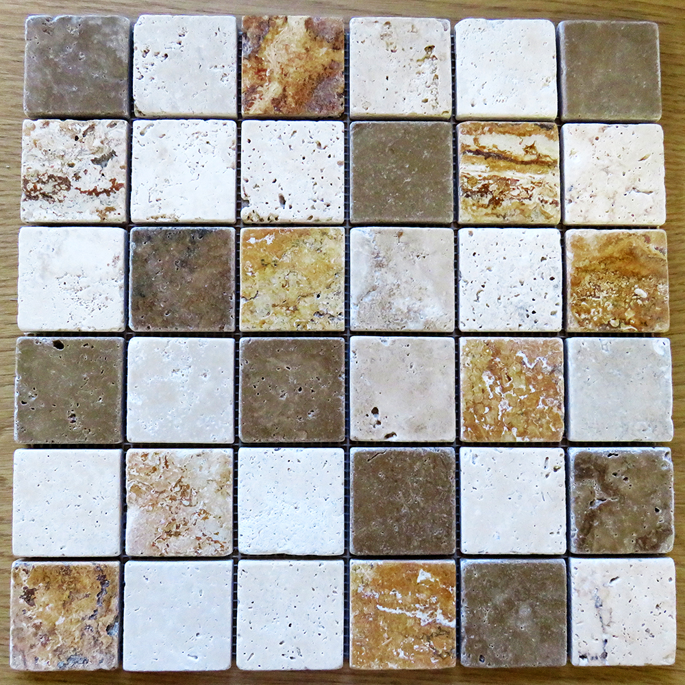 Phoenician 48mm Tumbled Mixed Travertine Mosaic 300mm X