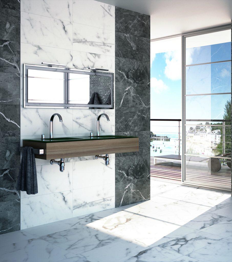 Lusso Gris Marble Effect Porcelain Tile 375mm x 750mm - New Image Tiles