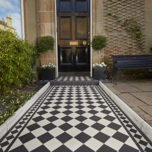 Victorian tiles entrance path. Original Style Dorchester Black Dover White with Kingsley